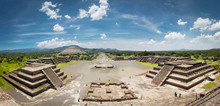 Panoramic View Of The Avenue Of The Dead In Teotihuacan Pyramids