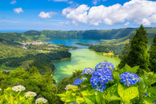 """Beautiful View Of Seven Cities Lake """"Lagoa Das Sete Cidades"""" From Vista Do Rei Viewpoint In São Miguel Island - Azores - Portugal"""