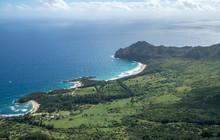 Aerial View Of Kawelikoa Point And Landscape Of Hawaiian Island Of Kauai From Helicopter Flight