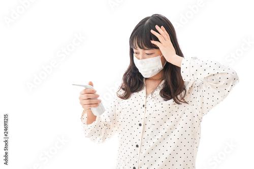 風邪をひいた若い女性・インフルエンザイメージ Canvas Print