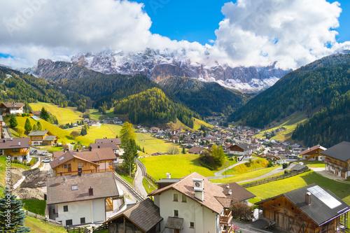 Fotografie, Obraz  Beautiful view of Selva Di Val Gardena village in Trentino Alto Adige, Italy