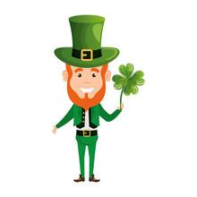 Leprechaun With Clover Saint Patrick Character