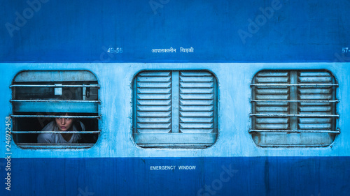 Cuadros en Lienzo sleeper class train in india view from outside