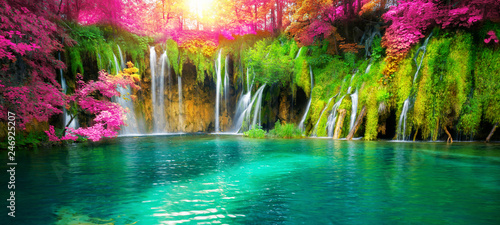Cadres-photo bureau Route dans la forêt Exotic waterfall and lake landscape of Plitvice Lakes National Park, UNESCO natural world heritage and famous travel destination of Croatia. The lakes are located in central Croatia (Croatia proper).