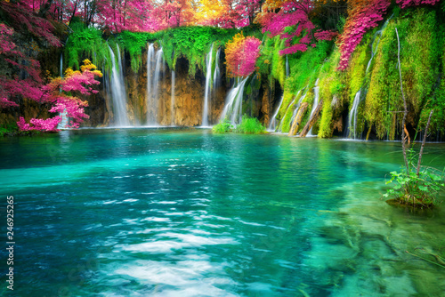 Fotobehang Watervallen Exotic waterfall and lake landscape of Plitvice Lakes National Park, UNESCO natural world heritage and famous travel destination of Croatia. The lakes are located in central Croatia (Croatia proper).