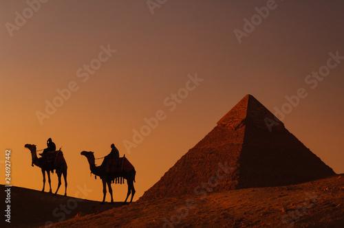 Foto op Plexiglas Historisch geb. ピラミッドと駱駝