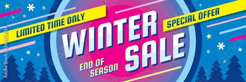 Fototapeta Winter sale - concept horizontal banner vector illustration. Abstract creative discount layout. Special offer. Graphic design poster.  obraz
