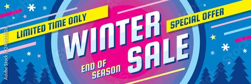 Winter sale - concept horizontal banner vector illustration Fototapeta