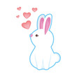cute rabbit with hearts love
