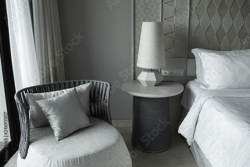 Fotografie, Obraz  Luxury modern japanese style bedroom in grey and white colours