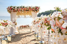 Wedding Set Up On Beach. Tropi...