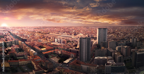 Photo sur Aluminium Milan Fake dramatic sunset in Milan city