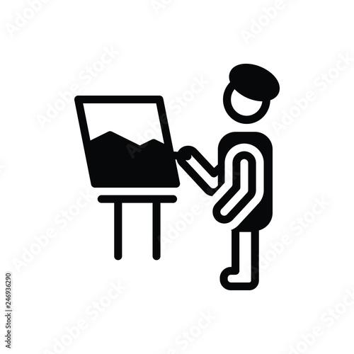 Fotografia  Black solid icon for hobby creative