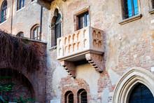 Verona, Italy - December 10, 2014: Balcony Of The Julieta's House (Casa Di Giulietta) Where Romeo Declared His Love In Verona, Romeo & Juliet Is Written By William Shakespeare