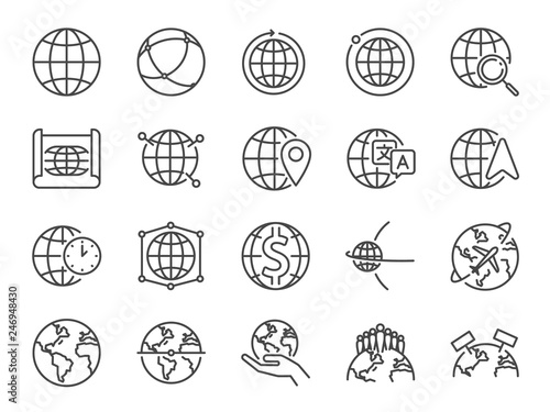 World line icon set. Included icons as globe, map, global, international, map and more.