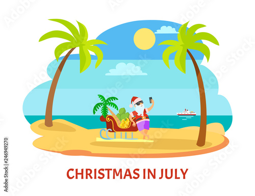 Santa standing near sleigh with palm tree and banana and shooting himself in glasses and hat near ship. Summer Christmas in July with sunny weather vector Wall mural