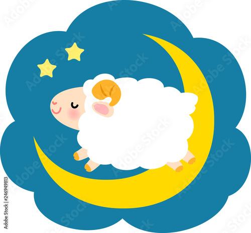 夜空と羊、睡眠 Fototapete