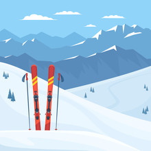 Red Ski Equipment At The Ski Resort. Snowy Mountains And Slopes, Winter Landscape. Vector Flat Illustration.