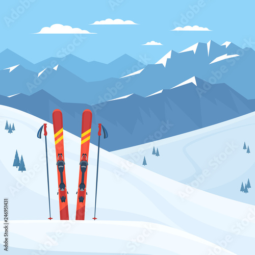 Fotomural  Red ski equipment at the ski resort