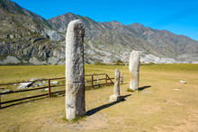 Ancient Steles In The Altai Mountains