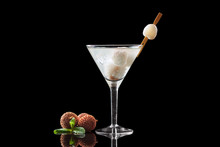 Lychee Martini On A Black Background