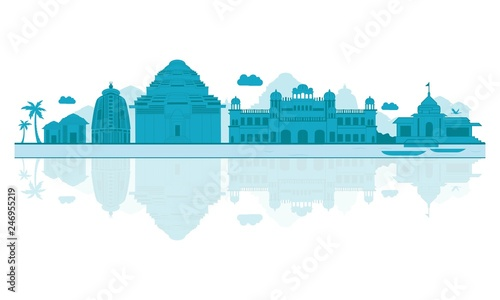 Vector illustration. Odisha skyline detailed silhouette. Tapéta, Fotótapéta