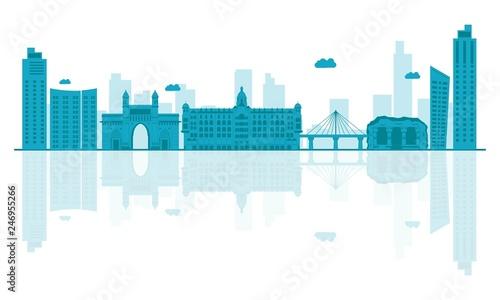 Vector illustration.Mumbai skyline detailed silhouette. Canvas Print