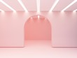 Leinwanddruck Bild - Arch in a wall and iluminated ceiling  of slats.  Empty room to show  a product. 3d Scene with geometrical forms. Minimalistic empty showcase, shop display, pastel colors.