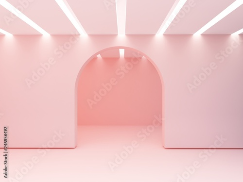 Arch in a wall and iluminated ceiling  of slats Fototapeta