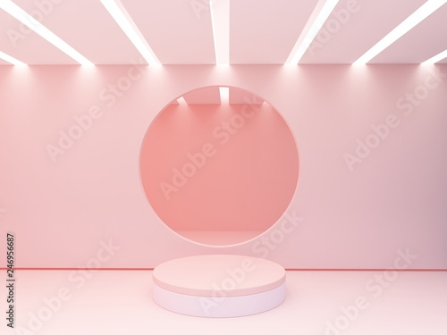 Fotografie, Obraz  Minimal scene with cylinder podium