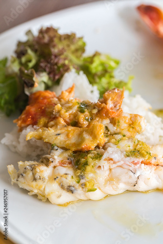 River prawn on rice