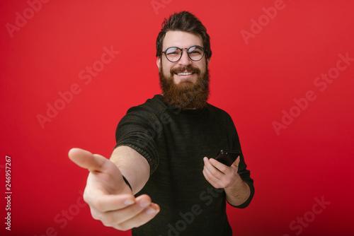 Photo Portrait of cheerful bearded man