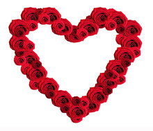 A Beautiful And Romantic Hearts Of Red Roses On A White Background