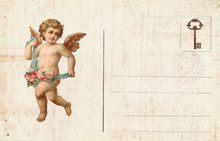 Vintage Valentine Day Card With Cherubs And Heart