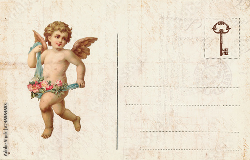 Vintage Valentine Day Card with cherubs and heart Canvas Print