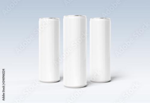 Cuadros en Lienzo Blank slim soda can mockup on grey background 3D rendering