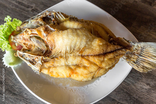 deep fried sea bass fish