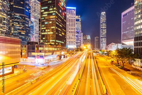 Spoed Foto op Canvas Stad gebouw Hong Kong Cityscape