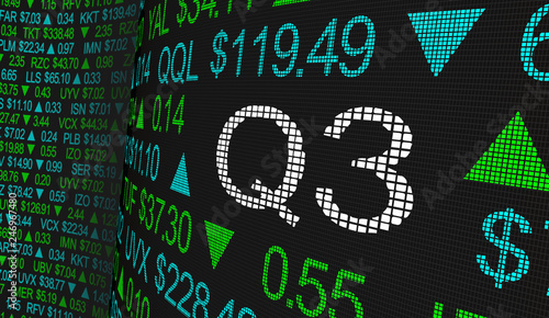 Fototapeta Q3 3rd Quarter Period Stock Market Ticker Words 3d Illustration obraz