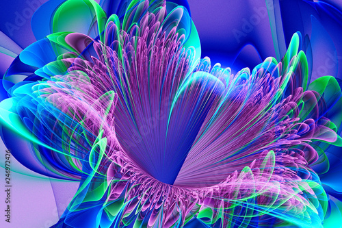 Poster Fractal waves Bright flower.Abstract painting multicolor texture.Motion holiday background.Modern multicolor futuristic dynamic pattern.Fractal 3d artwork creative graphic design.