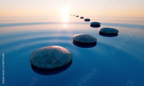Steine im See bei Sonnenuntergang Fotobehang