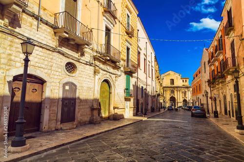 Old town street in Barletta city, region Puglia, Italy - 246975838