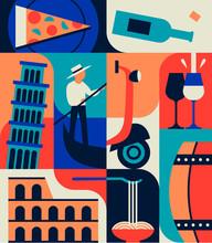 Italy, Vector Flat Illustration, Summer Icon Set, Collection Of Italian Landmarks.