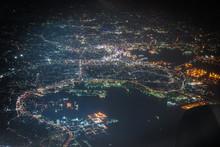 飛行機から見える横浜の夜景
