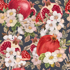 Obraz na płótnie Canvas Seamless pattern with watercolor flowers, peonies and pomegranates.