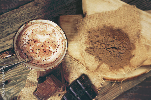 Delicious hot chocolate with mix of chocolates