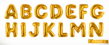 Alphabet Part 1. Golden Inflatable Toy Balloons. Letters A - N. 3D Realistic Vector Icon Set