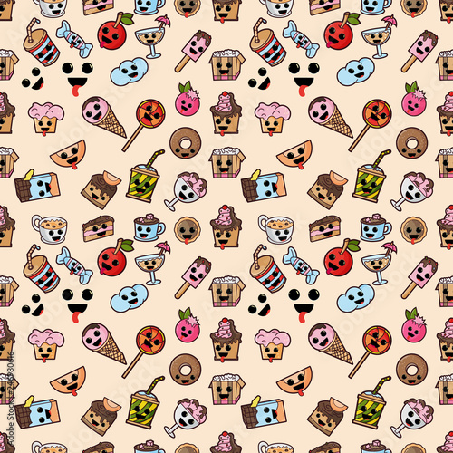 Photo seamless patern, illustration style Kawaii cute nice, adorable pictures, icons,