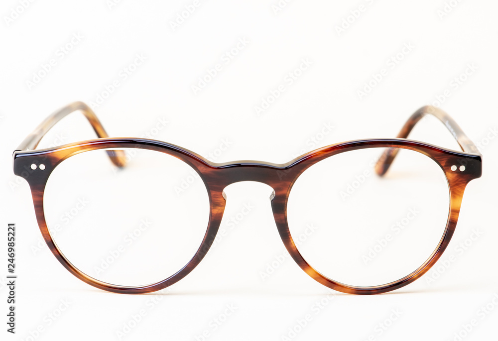 Fototapety, obrazy: Brown styled glasses close-up isolated on white background