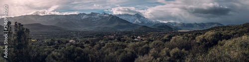 Fotografie, Obraz  Panoramic view of snow capped mountains in Corsica